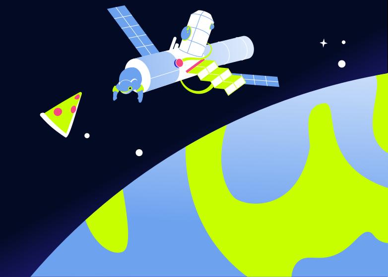 Imágenes vectoriales Cohete de fondo con pizza en PNG y SVG estilo  | Ilustraciones Icons8