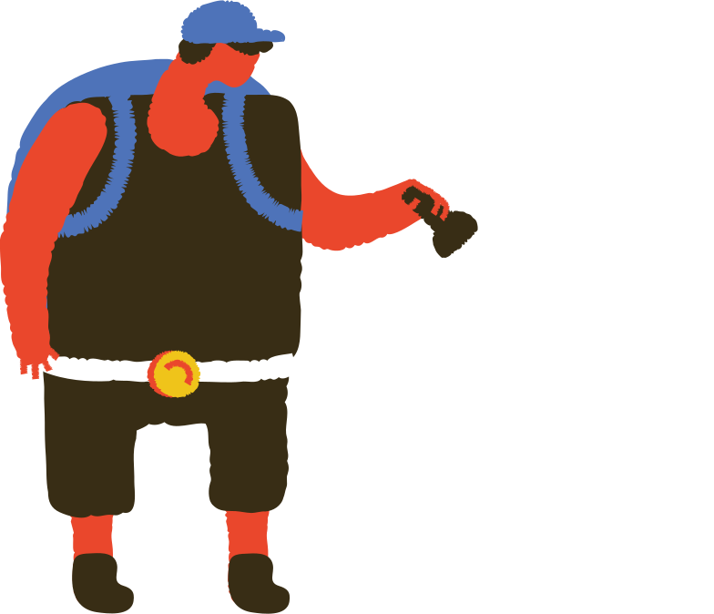 man with backpack and torch Clipart illustration in PNG, SVG