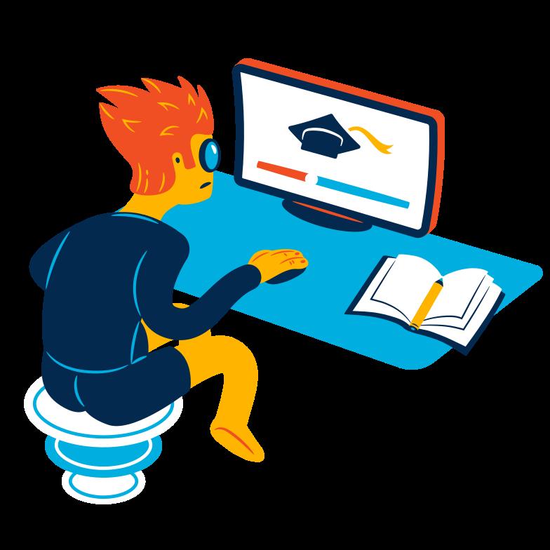 Ilustração de clipart de Educação online em PNG e SVG