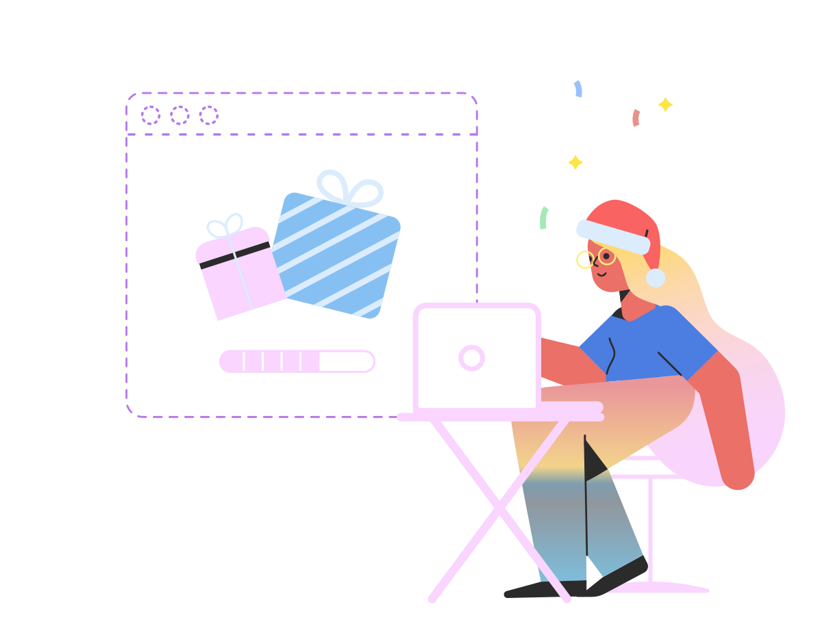 Christmas shopping online Clipart illustration in PNG, SVG