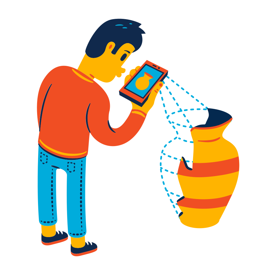 Augmented reality in the museum Clipart illustration in PNG, SVG