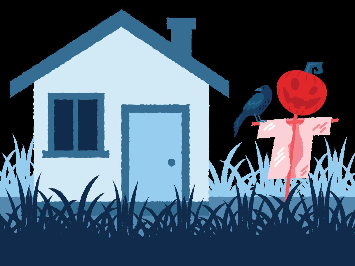 Village landscape Clipart illustration in PNG, SVG