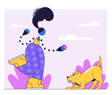 style Playing with dog images in PNG and SVG | Icons8 Illustrations