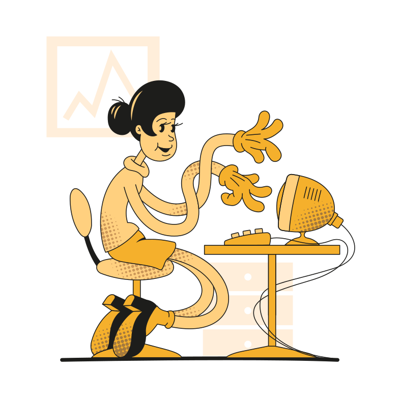 Imagem vetorial de Woman working on computer estilo  em PNG e SVG | Ilustrações do Icons8