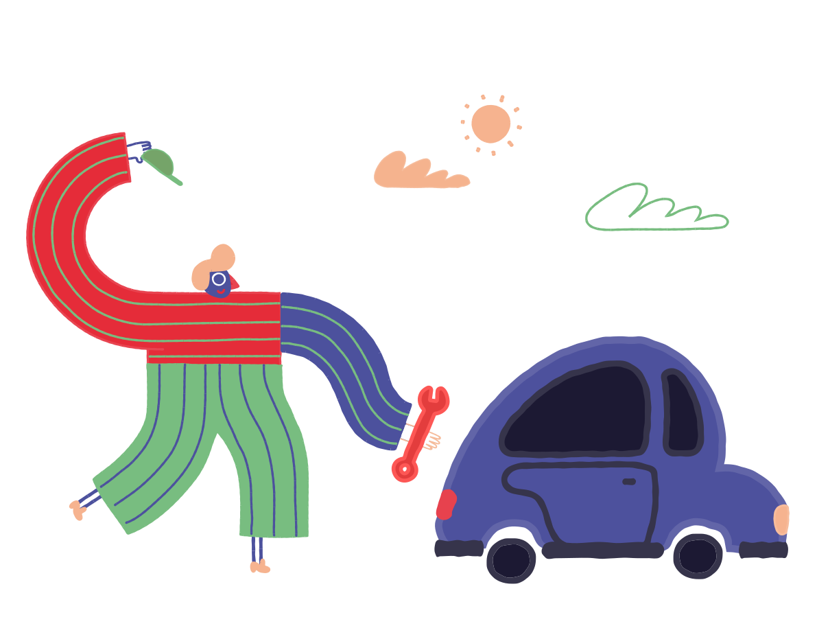 Fixing the car Clipart illustration in PNG, SVG
