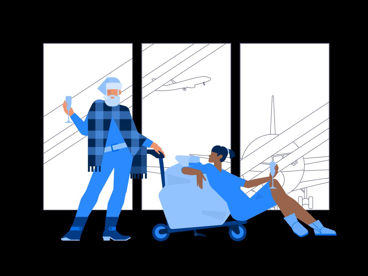 Ilustración de clipart de Santa en el aeropuerto en PNG, SVG