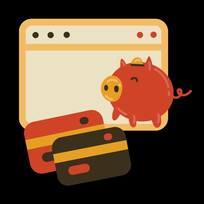 Internet piggy banks Clipart illustration in PNG, SVG