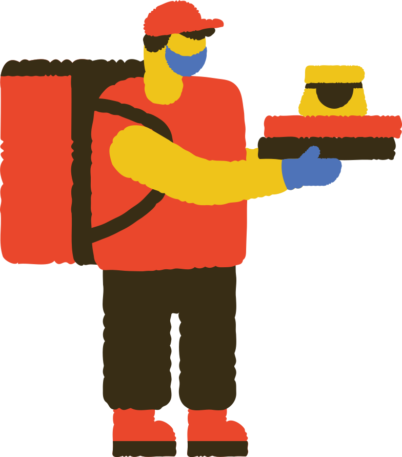 masked food delivery man Clipart illustration in PNG, SVG