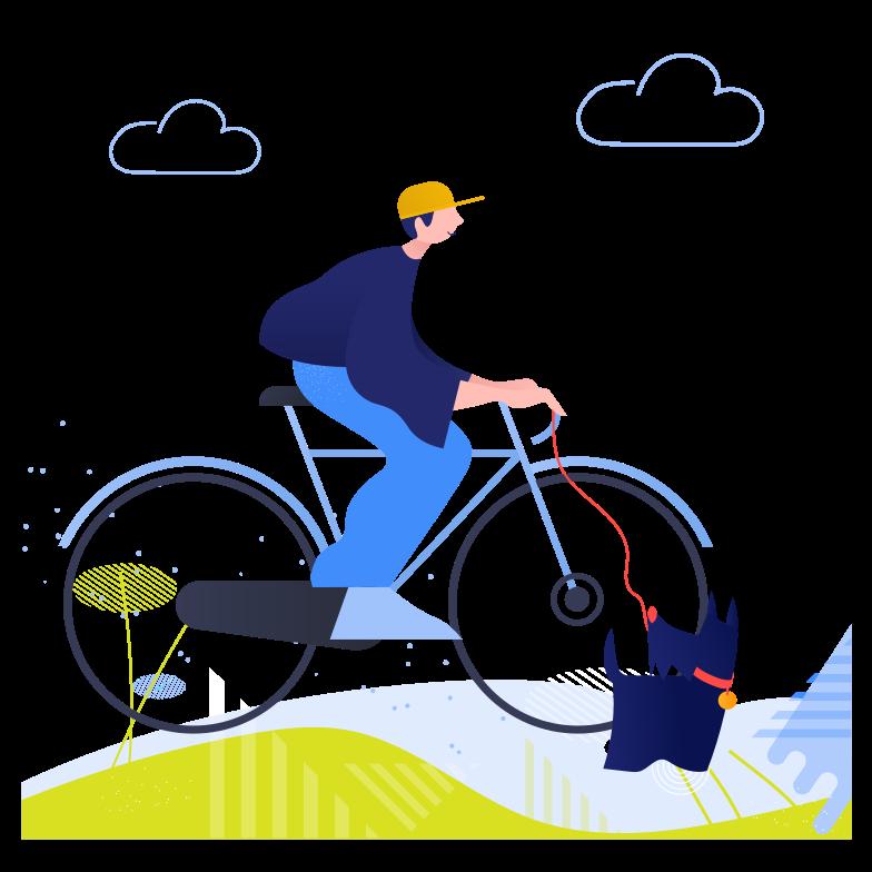 Andar de bicicleta com cachorro Clipart illustration in PNG, SVG