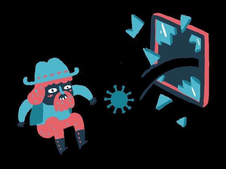 Virus entered the house Clipart illustration in PNG, SVG