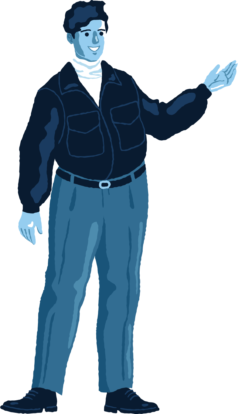 chubby man standing front Clipart illustration in PNG, SVG