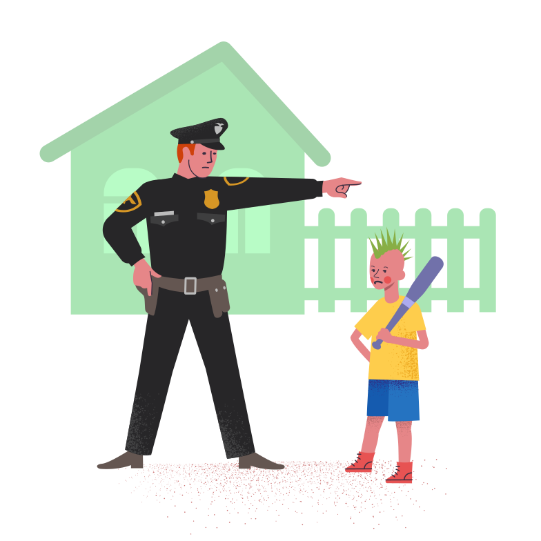 style Policeman with bully boy Vector images in PNG and SVG | Icons8 Illustrations
