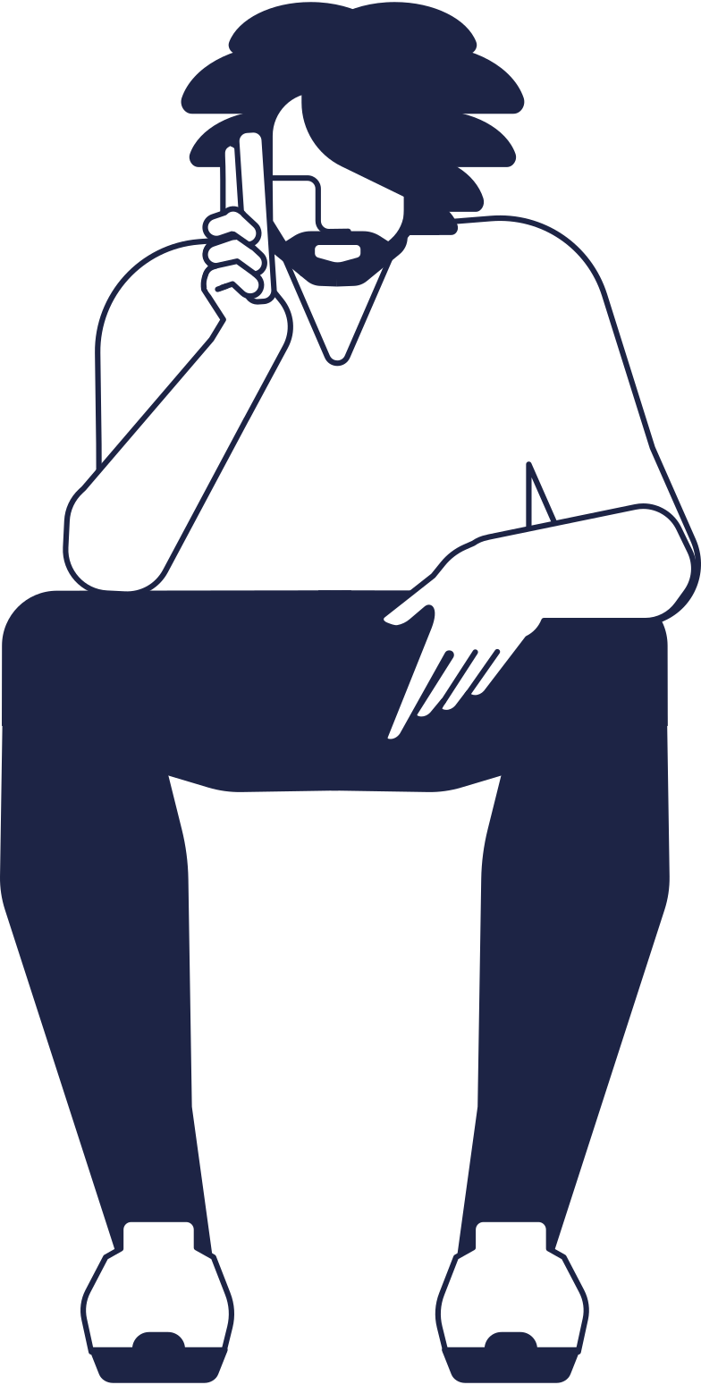waiting  man 1 line Clipart illustration in PNG, SVG