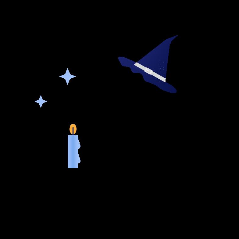 Ilustración de clipart de Bruja con vela en PNG, SVG