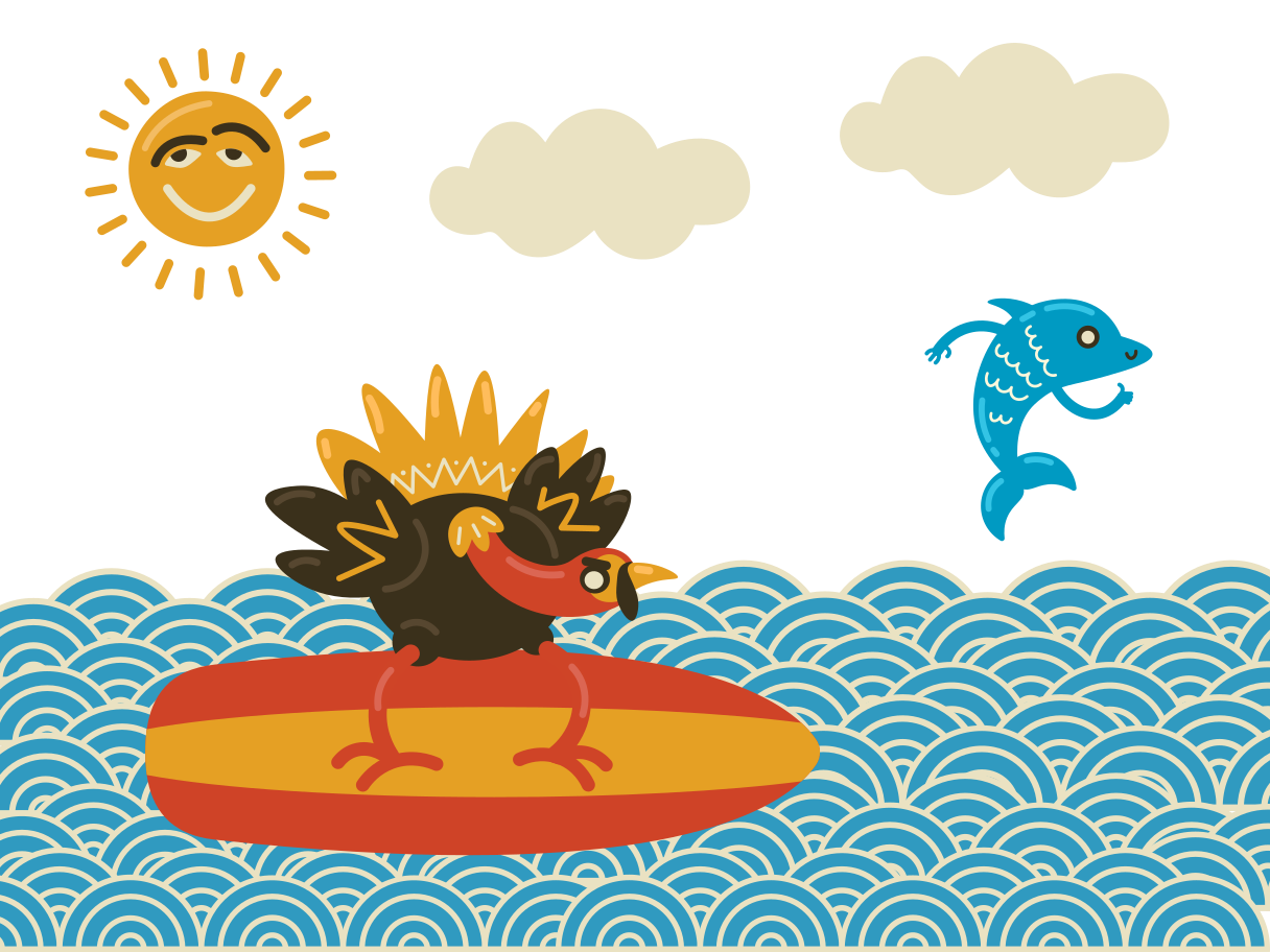 Surfing Clipart illustration in PNG, SVG