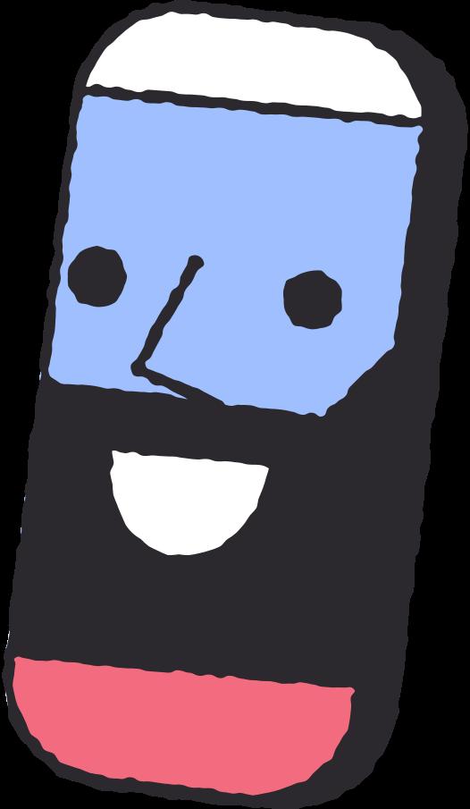 Ilustración de clipart de Teléfono inteligente con cara en PNG, SVG