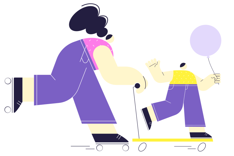 Active holidays with the family Clipart illustration in PNG, SVG