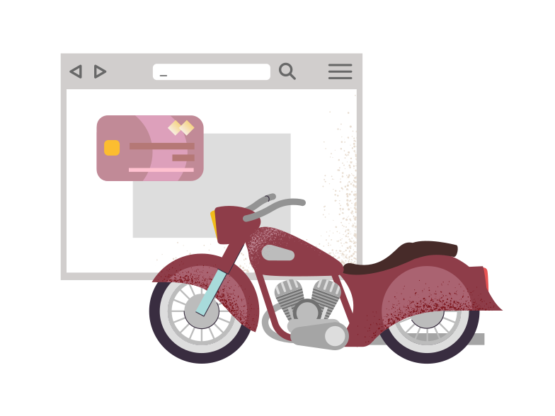 Buy a motorcycle on the internet Clipart illustration in PNG, SVG
