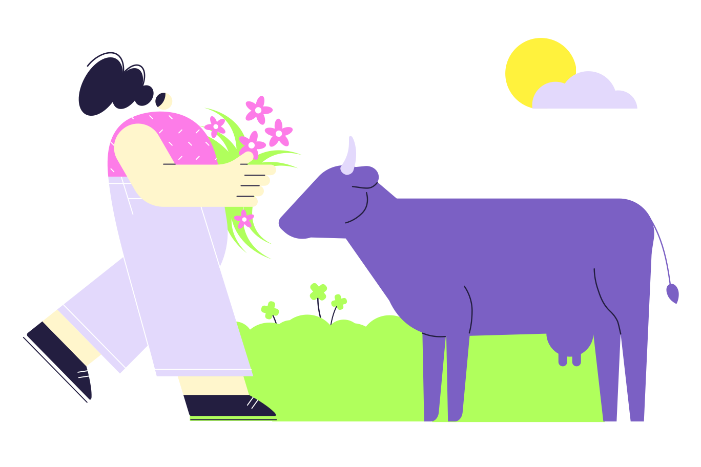 Taking care of the cow Clipart illustration in PNG, SVG
