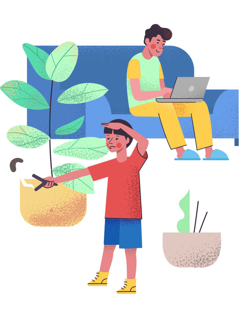 Isolation: son entertain himself while father working remotely Clipart illustration in PNG, SVG