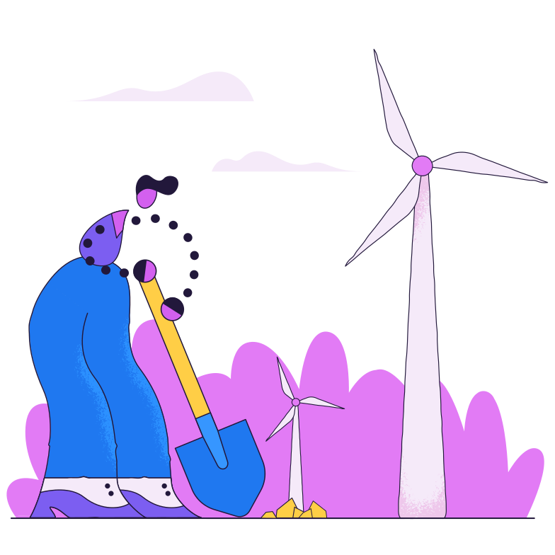 Windmill planting Clipart illustration in PNG, SVG