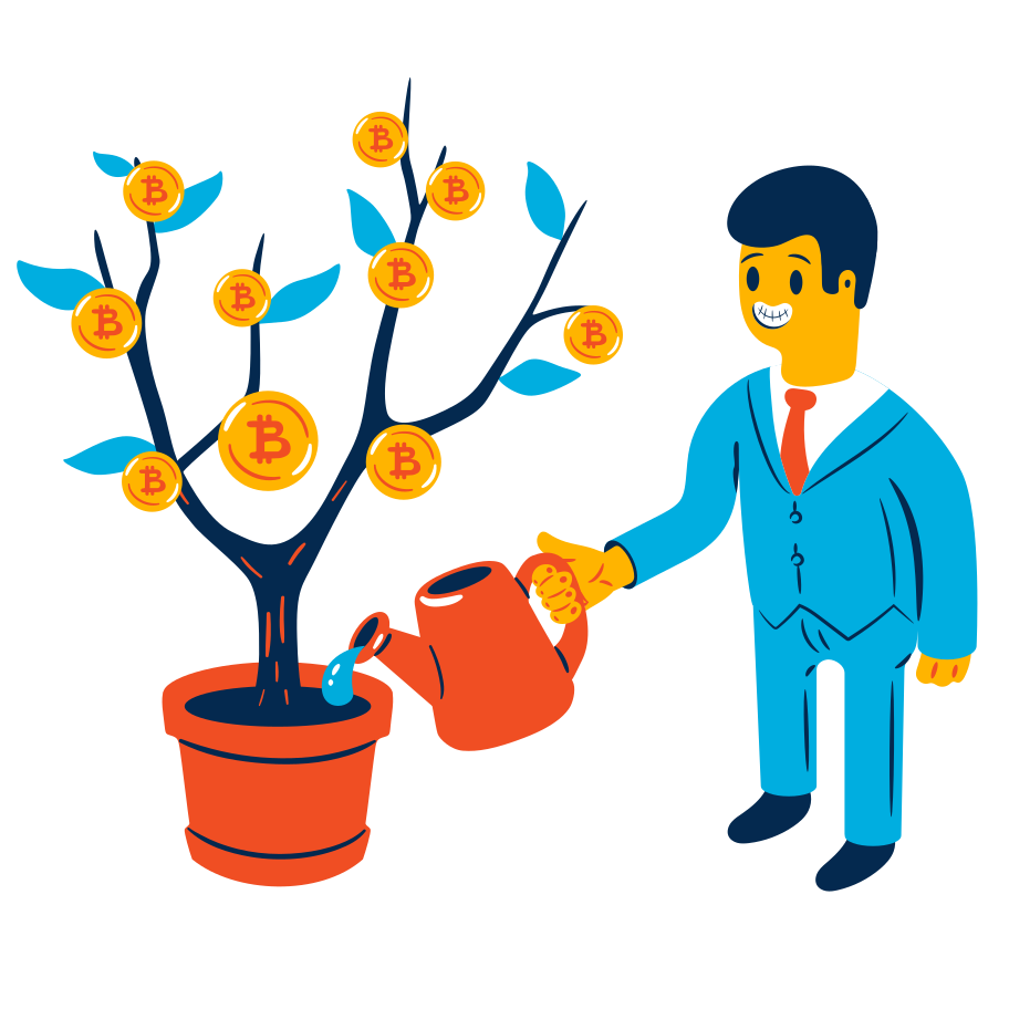 Investing in Bitcoin Clipart illustration in PNG, SVG