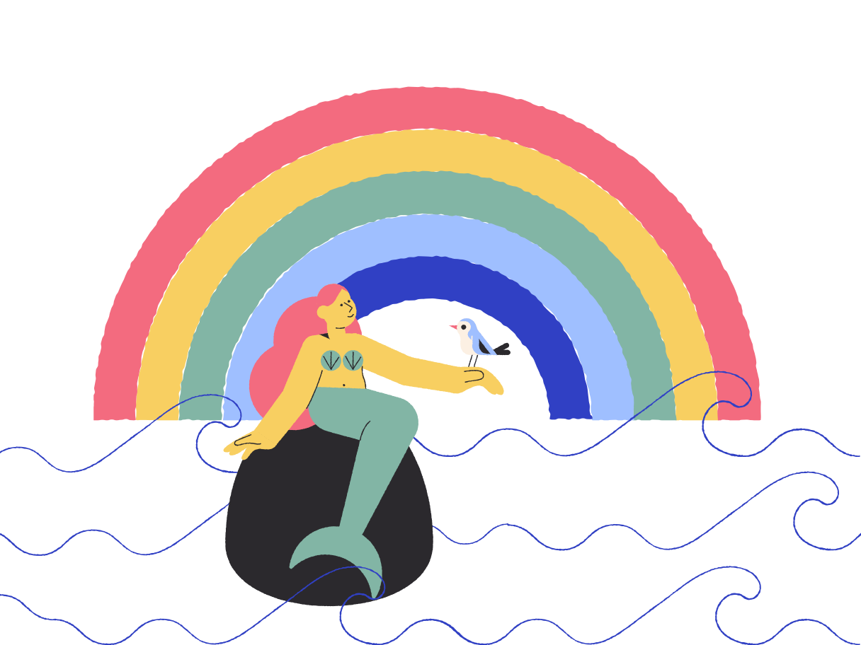 Beautiful mermaid Clipart illustration in PNG, SVG