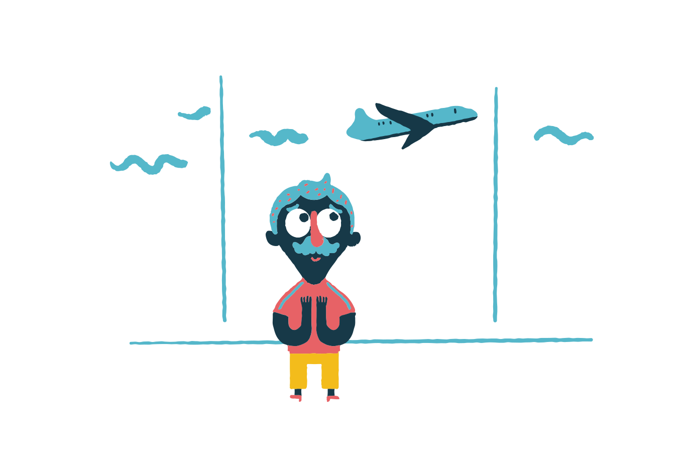 Excited for a flight Clipart illustration in PNG, SVG