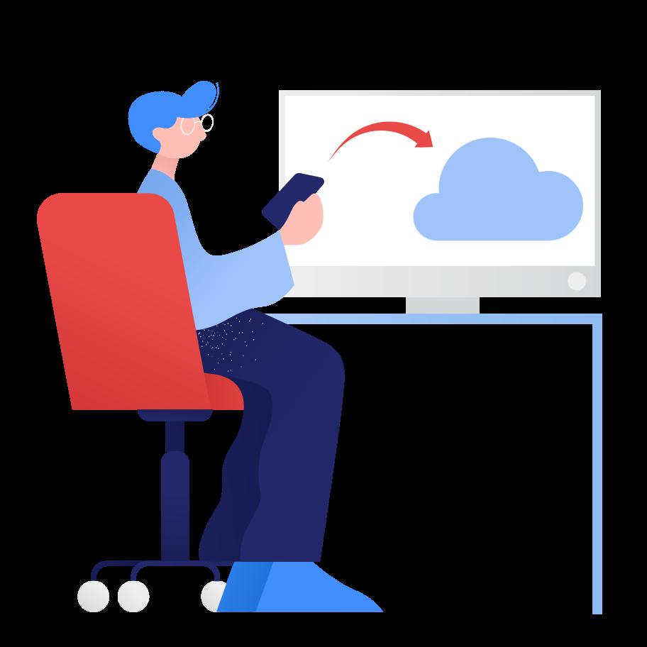 Cloud upload Clipart illustration in PNG, SVG