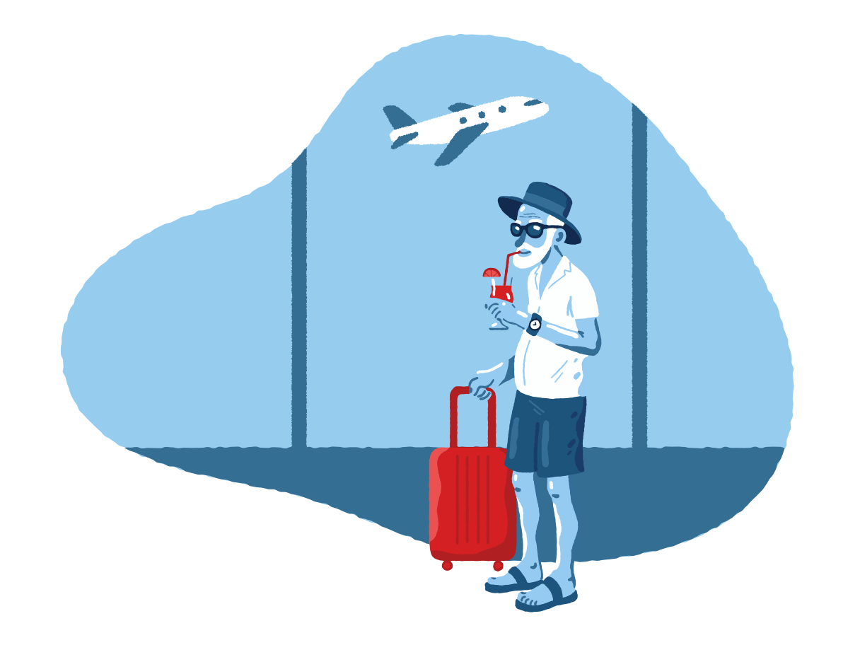 Old man on vacation Clipart illustration in PNG, SVG
