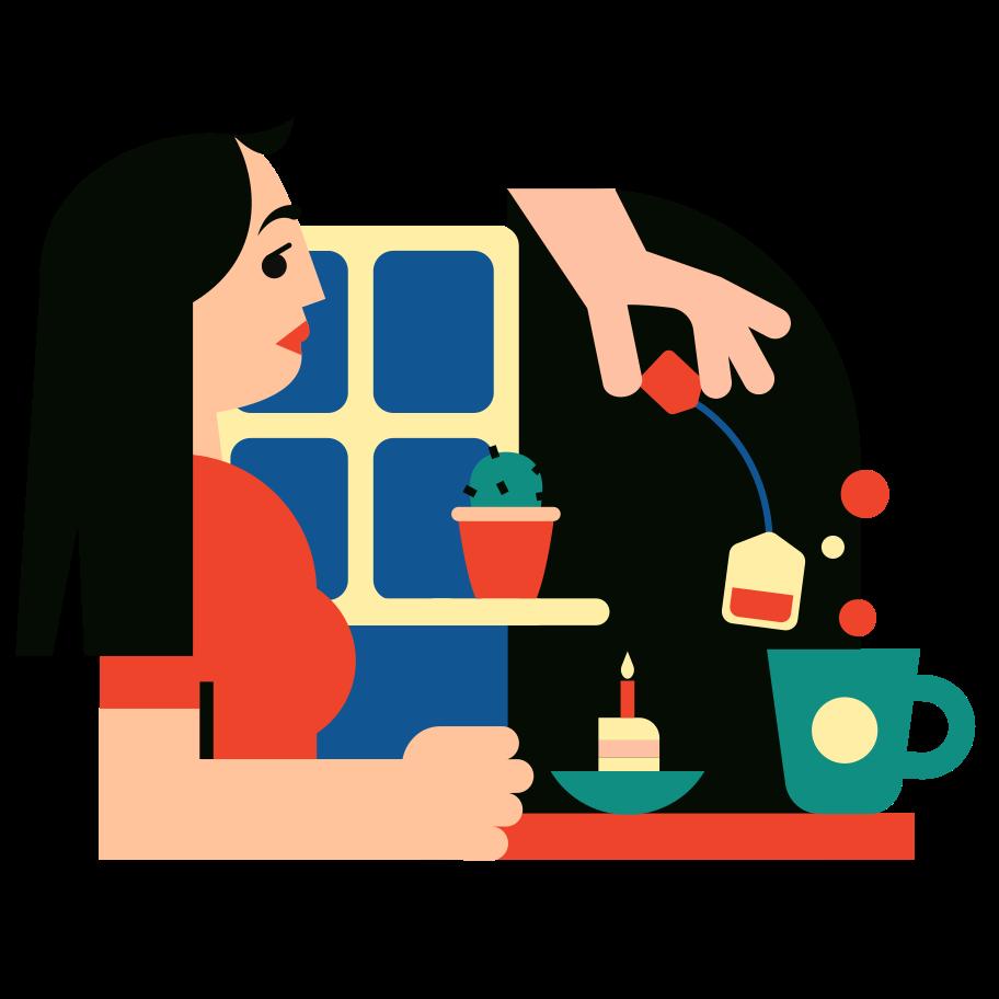 Tea drinking Clipart illustration in PNG, SVG