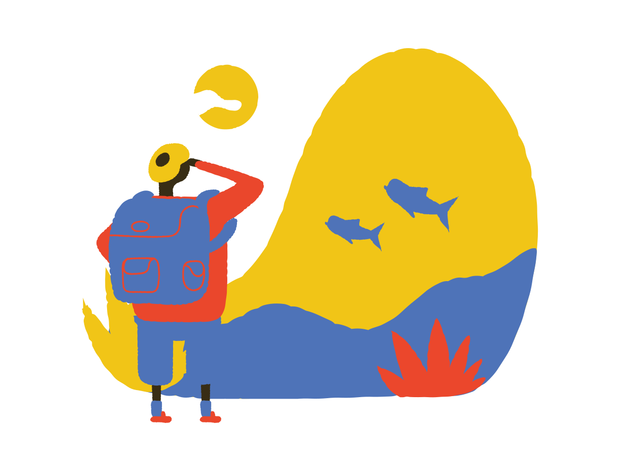 Watching dolphins by the sea Clipart illustration in PNG, SVG