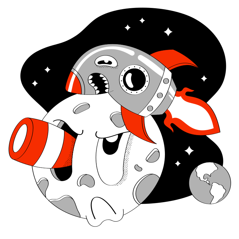 Moon conquer Clipart illustration in PNG, SVG