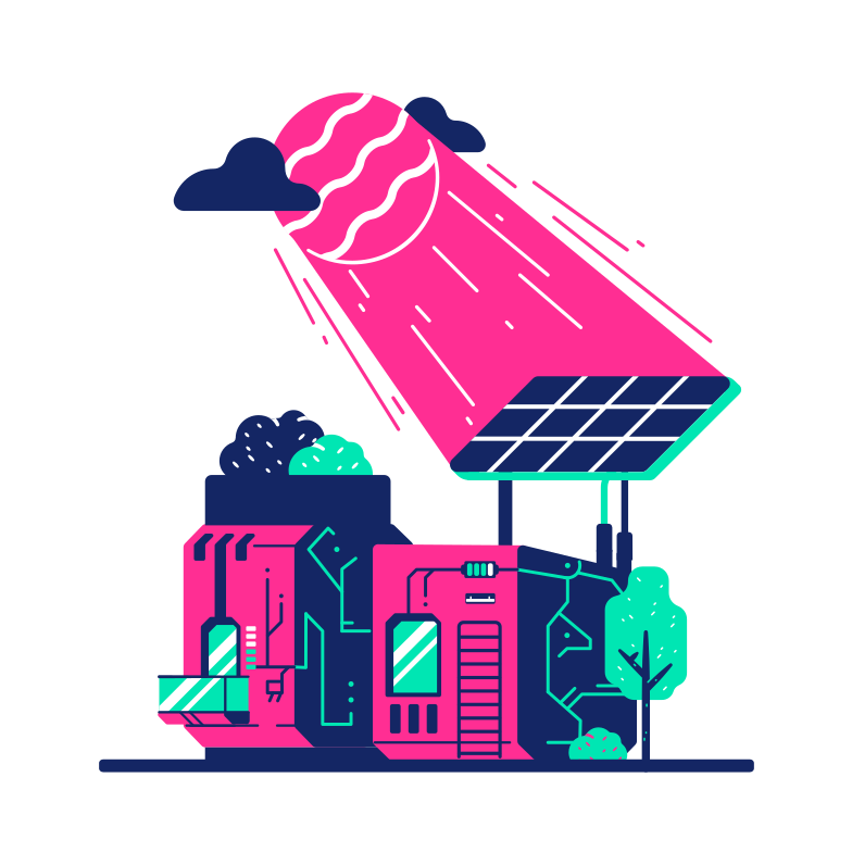 Small solar house Clipart illustration in PNG, SVG