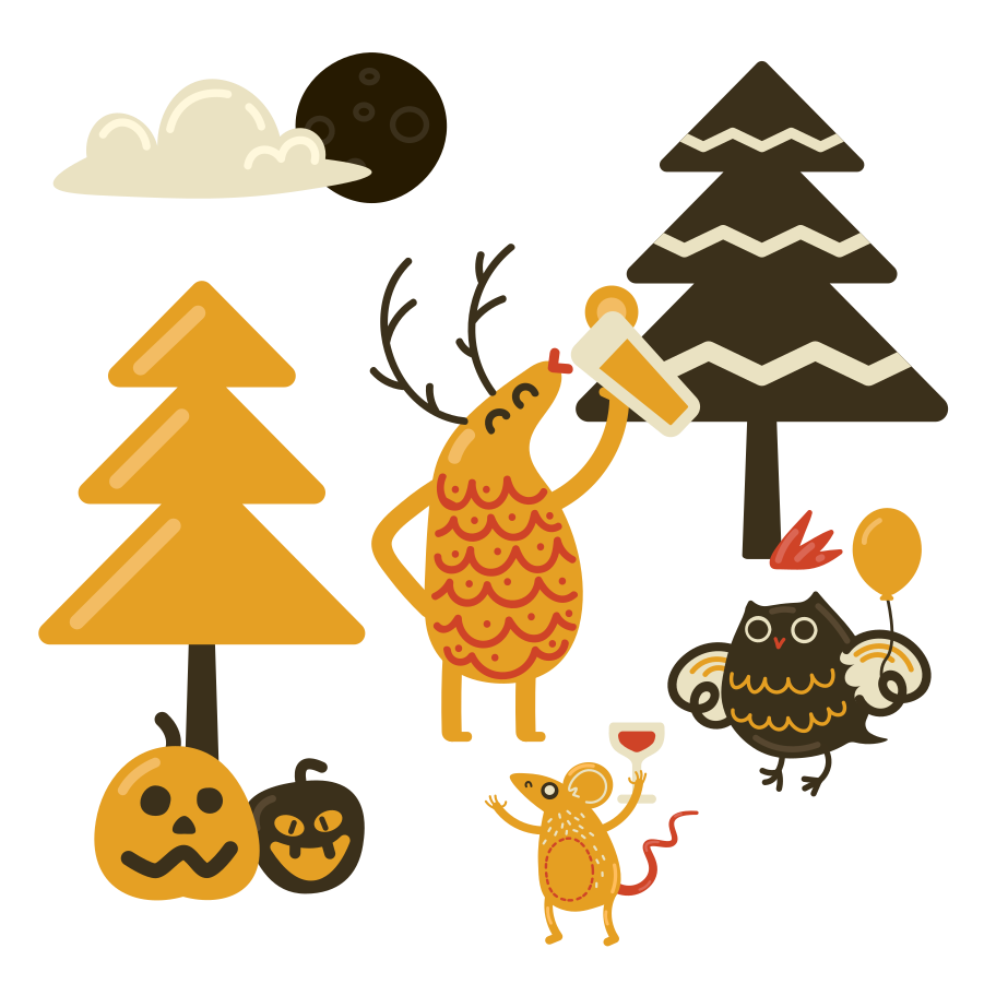 Forest halloween party  Clipart illustration in PNG, SVG