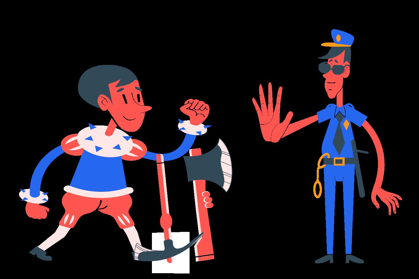 Police! Freeze! Clipart illustration in PNG, SVG