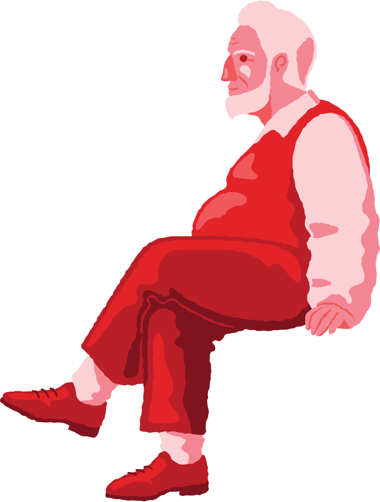 old chubby man sitting profile Clipart illustration in PNG, SVG
