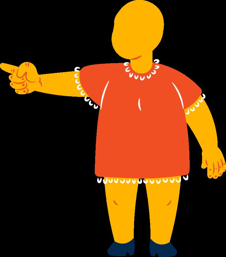 fat girl points Clipart illustration in PNG, SVG