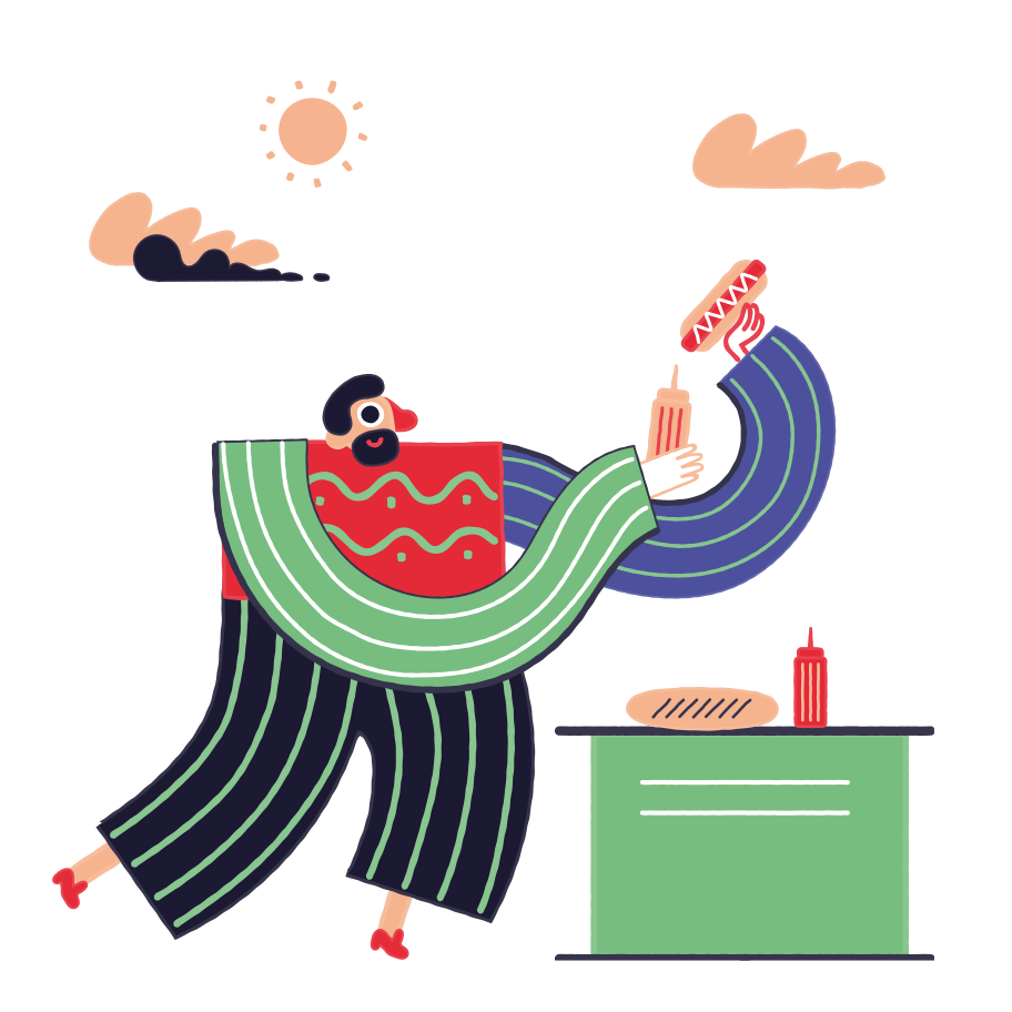 Hot Dog Vendor Clipart illustration in PNG, SVG