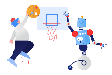 style Robot playing basketball images in PNG and SVG | Icons8 Illustrations