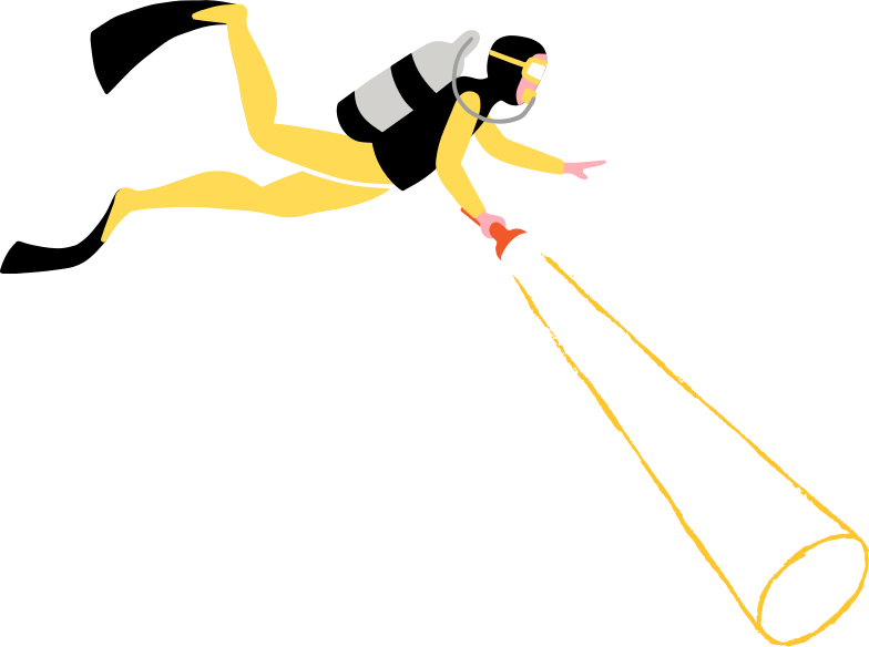 diver with flashlight Clipart illustration in PNG, SVG
