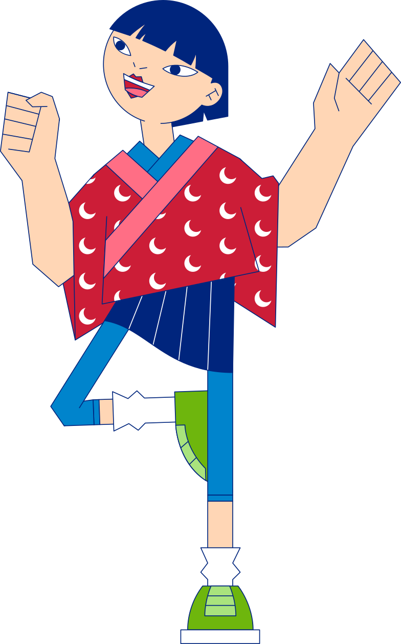 happy girl standing on one leg Clipart illustration in PNG, SVG
