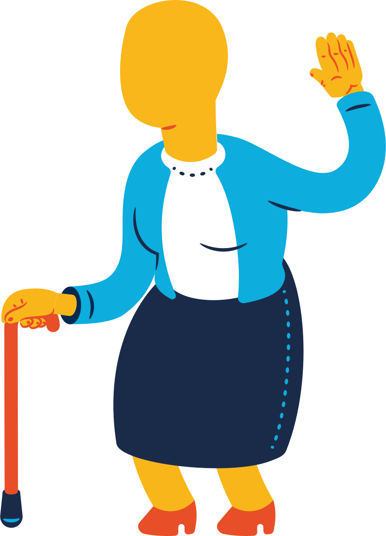 old woman greeting Clipart illustration in PNG, SVG