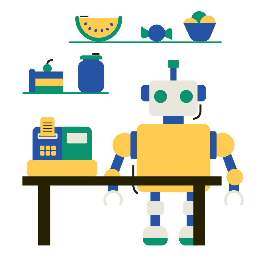 style Robot cashier Vector images in PNG and SVG | Icons8 Illustrations