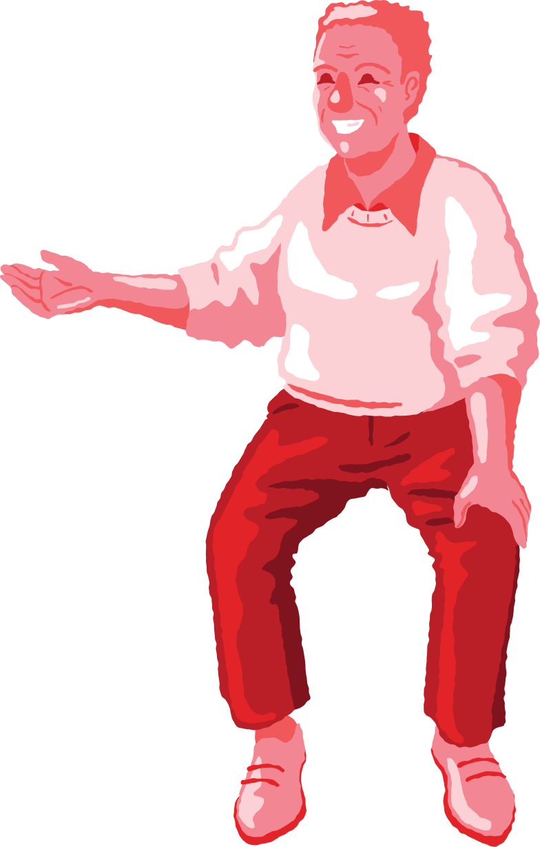 old man sitting front red Clipart illustration in PNG, SVG