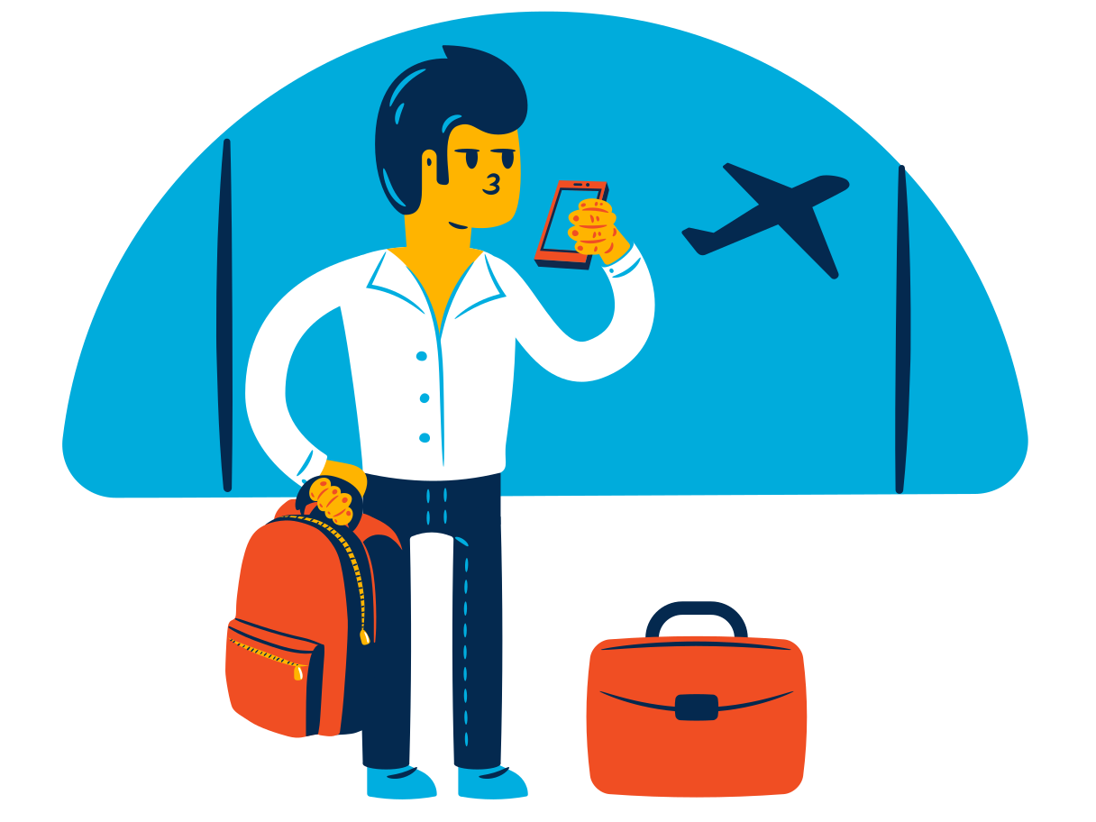 At the airport Clipart illustration in PNG, SVG