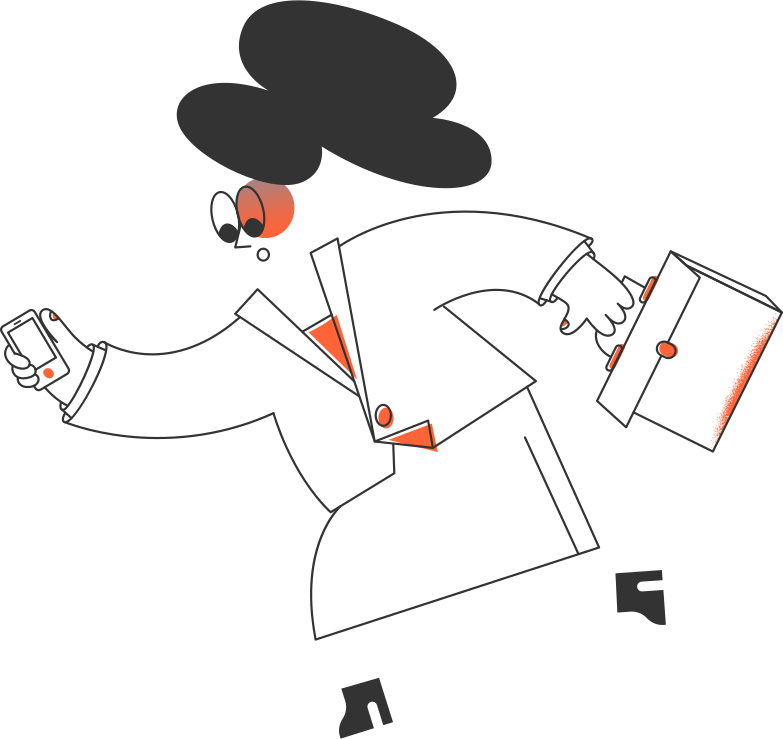 Клипарт Деловая женщина бежит в PNG и SVG