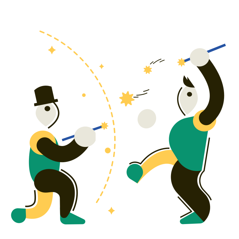 The Duel of Wizards Clipart illustration in PNG, SVG
