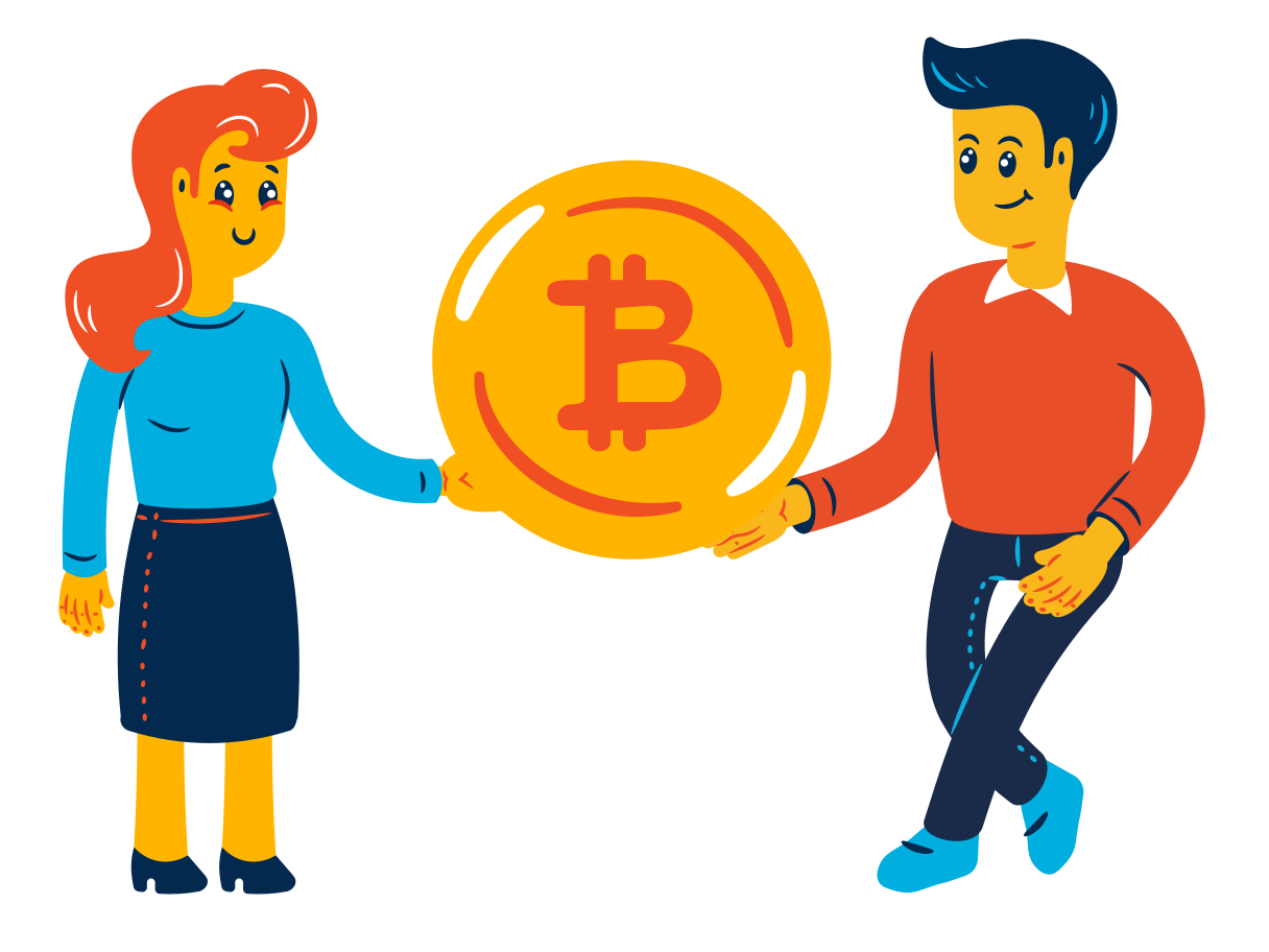 Bitcoin P2P Clipart illustration in PNG, SVG