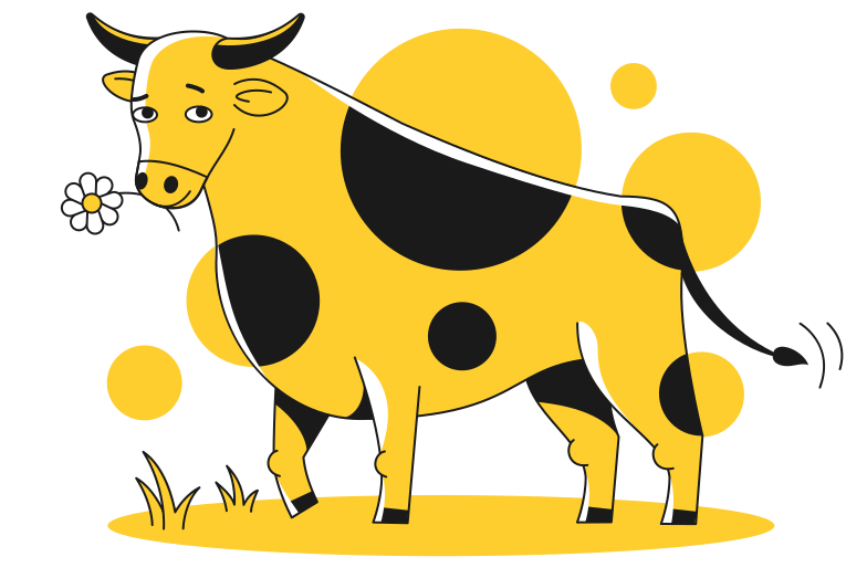 Bull with flower Clipart illustration in PNG, SVG